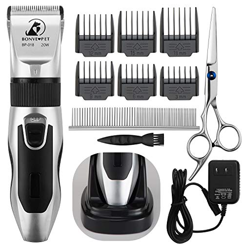 Bonve Pet Dog Grooming Clippers, Cordless Low Noise Dog Cat Hair Trimmer with Dog Comb Scissor & 6 Limited Guides Best Rechargeable Electric Clippers Set for Dogs Cats Horse Pet