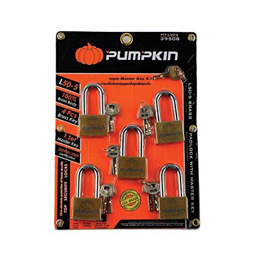 PUMPKIN L50-5 Long Shackle Brass Padlock Key Home Top Security Locks Tool Steel Cover Plate (PTT-L50-5:39508) 5 Padlock Set, Pack 1 pcs.