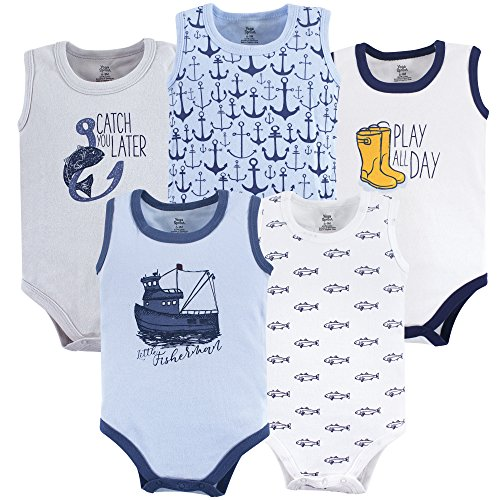 Yoga Sprout Unisex Baby Cotton Bodysuits, Fisherman, 3-6 Months