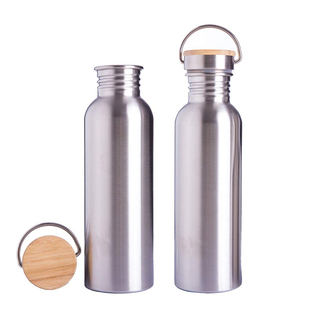 Lixada Stainless Steel Drinking Bottle,Single Walled Vacuum Insulated Sports BottleBPA-Free Leak-Proof with Bamboo Lid for Cyclists,Runners, Hikers,Beach Goers,Picnics,Camping