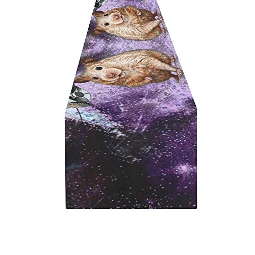 Artsadd Animal Marmots in Space Galaxy Solar System Kitchen Dining Table Runner 16x72 inch by Artsadd (Image #1)