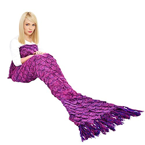Magic Tails (Handmade Mermaid Tail Blanket, iBaby888 All Seasons Warm Knitted Bed Blanket Sofa Quilt Living Room Sleeping Bag for Adults, Fish-scales Pattern with Tassel, 70.9