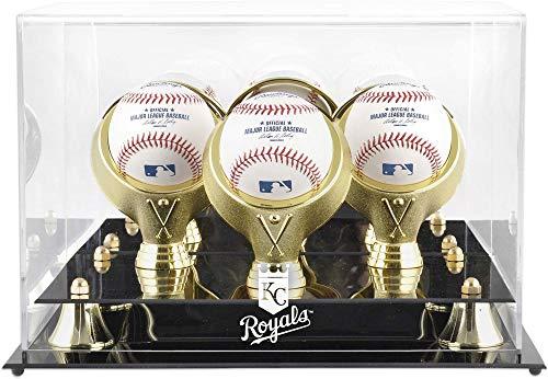 Mounted Memories Kansas City Royals Memorabilia - Kansas City Royals Golden Classic Three Baseball Logo Display Case