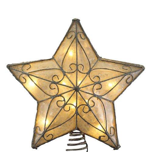 Kurt Adler UL 10-Light Metal Trimmed Capiz Star Treetop (Tree Toppers Old Fashioned Christmas)