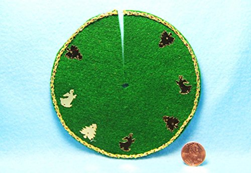 Dollhouse Miniature Christmas Tree Skirt Green Angels & Trees DH- - My Mini Fairy Garden Dollhouse Accessories for Outdoor or House Decor by New Miniature