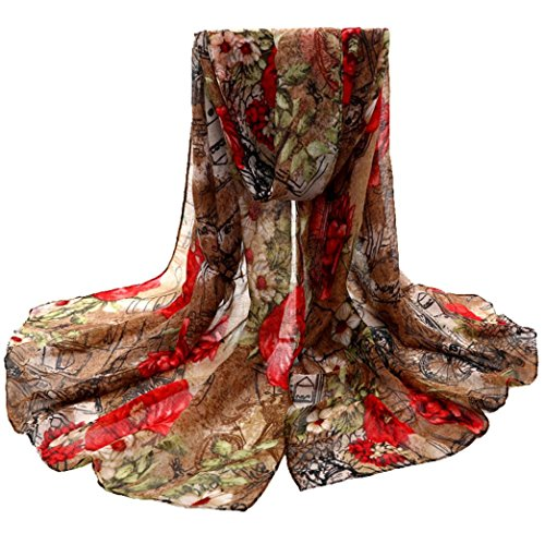 Scarf,lookatool Womens Flower Voile Stole Scarves Long Neck