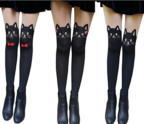 - AM Landen Cute Women's Tight S-M size Japanese 3 pairs Set Cat Kitten Face with Tail Fun Tatoo Printed Pantyhose