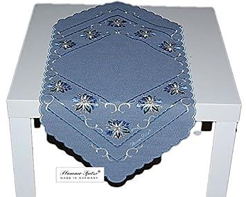 Plauener Spitze Tischdecke Leinenoptik Blau Stickerei Edelweiß Tischläufer