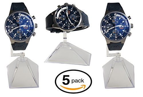 Single Watch Stand - 5-Pack Single Clear Acrylic Watch Display Stand Holder \ Plastic Watch Holder with Stand (3.5