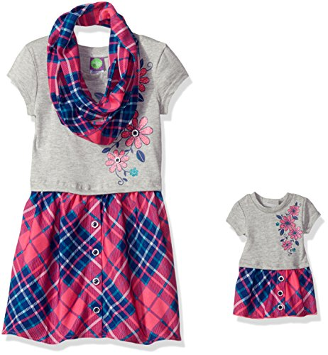 Dollie & Me Big Girls' Pink and Grey Plaid Dress and Scarf Set, Grey/Multi, 7