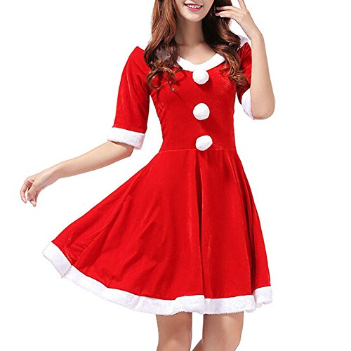 Women Sexy Mrs Santa Claus Cosplay Costume Christmas Party Fancy Dress (Mrs Christmas Outfit)