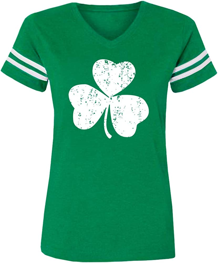 Spadehill St. Patrick's Day Women's Green V-Neck Short Sleeve T Shirt