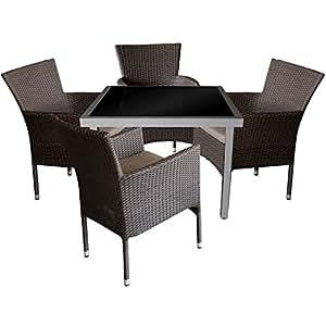 5piezas. Mobiliario de jardín aluminio cristal Mesa 90x 90cm con mesa de tablero de cristal + Negra Sillón de ratán, apilable, polirratán, incluye cojín tejido, color marrón moteado