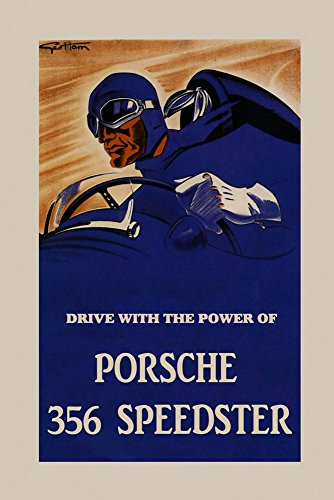 Automobile Car Drive With The Power of Porsche 356 Speedster Vintage Poster Repro 16