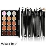 Jushye Hot sale!!! Cosmetic Brush Set, 15 Colors Contour Face Cream Makeup Concealer Palette Professional + 20 Brush