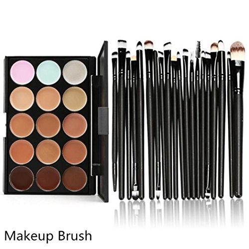 Hot sale!!! Cosmetic Brush Set,Jushye 15 Colors Contour Face Cream Makeup Concealer Palette Professional + 20 (Concealer Refills)