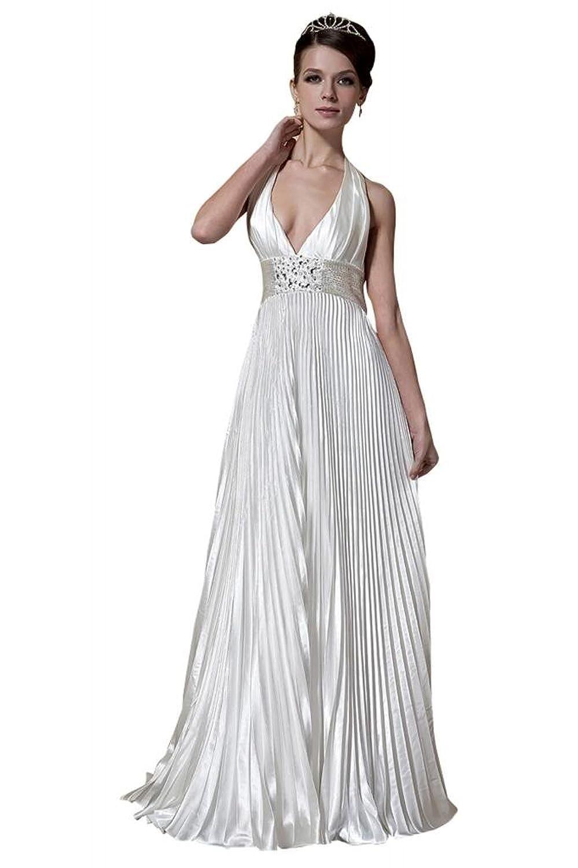 GEORGE BRIDE Seductive Halter Elastic Woven Satin Wedding Dress