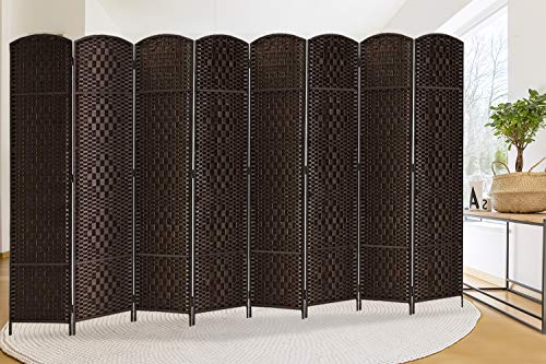 Extra Wide-Diamond Weave Fiber Room Divider, 8 panel room divider/screen,room dividers and folding privacy screens 8 panel&Room dividers and folding privacy screens-Dark Coffee 8 Panels (Screens Dividers)