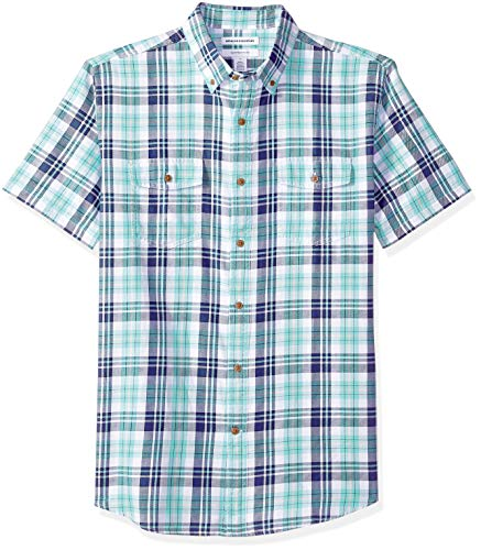 Amazon Essentials Men's Regular-Fit Short-Sleeve Two-Pocket Twill Shirt, Green/Blue Check, Medium