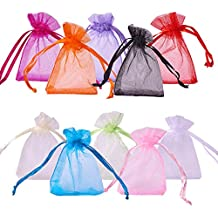PandaHall About 100 Pcs Organza Drawstring Gift Pouch Wrap Favor Bag for Party Wedding 2x2.8'' Mixed Color