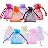 PH PandaHall About 100 Pcs Organza Drawstring Gift Pouch Wrap Favor Bag for Party Wedding 2x2.8'' Mixed Color