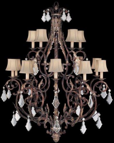 - Fine Art Lamps 226540ST 15-Light Stile Bellagio Chandelier, Tortoise Leather Crackle, 45