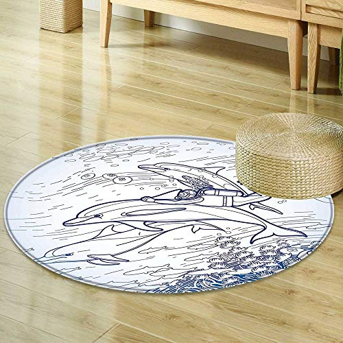 (Mikihome Print Area Rug Sea Animals Decor Sketch of Scuba Diver Holding Fin of Dolphin Over Coral Reefs Fish Underwater Multi Perfect for Any Room, Floor Carpet R-24)