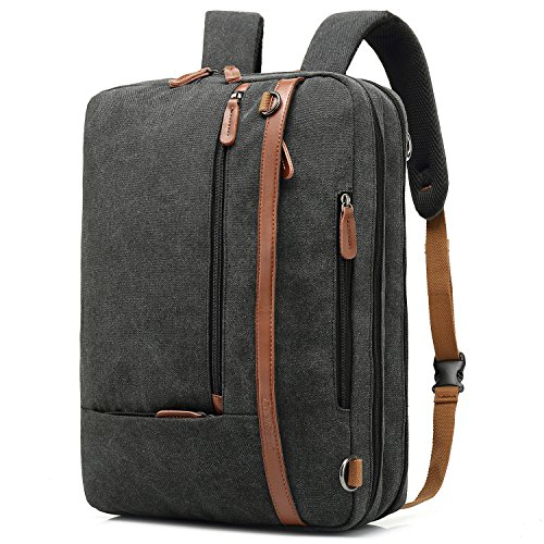 CoolBELL Convertible Backpack Shoulder Bag Messenger Bag Laptop Case Business Briefcase Leisure Handbag Multi-Functional Travel Rucksack Fits 17.3 Inch Laptop for Men/Women / Travel (Canvas Black)