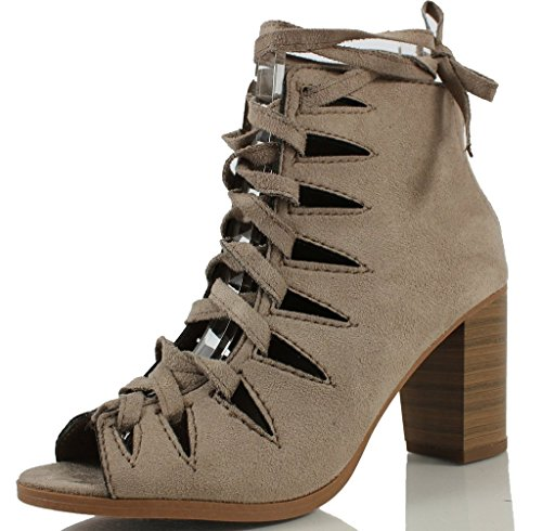 up Crisscross Clay Lace Hewitt Delicious Stacked Ankle Faux Bootie Soda Heel Thick Lace Women's Suede pxUwqqfgY