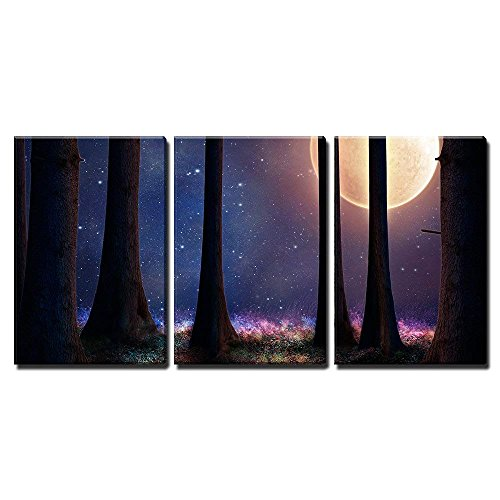 """wall26 - 3 Piece Canvas Wall Art - Tall Trees of a Forest Illuminated with a Big Full Moon - Modern Home Decor Stretched and Framed Ready to Hang - 16""""x24""""x3 Panels"""