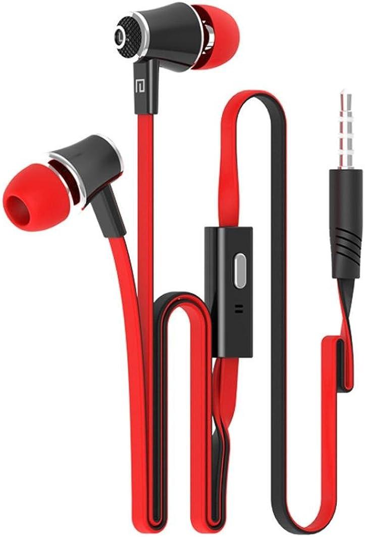 Tefamore Auriculares Estéreo De 3.5mm Con Micrófono En-Oído Para Teléfono Móvil (Rojo)