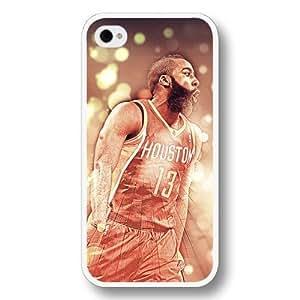 Onelee(TM)- Customized Personalized White Hard Plastic iPhone 4/4S Case, NBA Superstar Houston Rockets James Harden iPhone 4/4S case, Only Fit iPhone 4/4S case