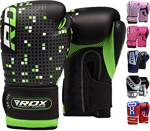 RDX Maya Hide Leather 4oz 6oz Kids Boxing Gloves Junior Punch Bag Children MMA Training Youth Muay Thai Mitts, 6oz, (Muay Thai Punch Bag)