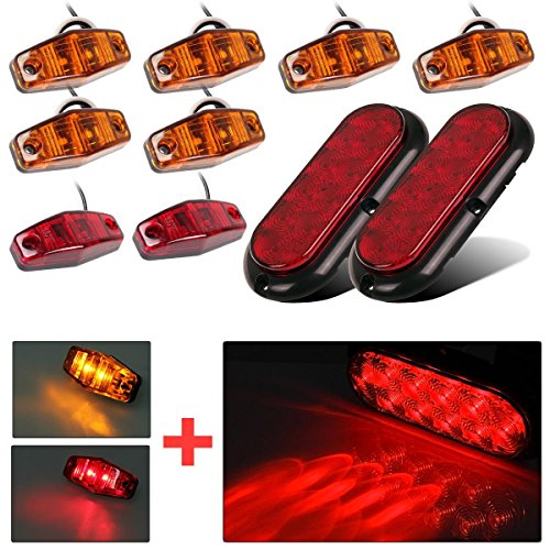 22 LED Audew 2Pcs 6-inch Oval 22-LED Trailer Tail Lights Red Brakes//Marker Lights for Truck,Boat,Trailer,Bus,IP65 Waterproof,DC 12V