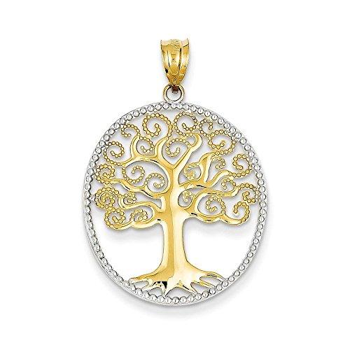PriceRock en or 14 carats et Rhodium argenté en filigrane &Pendentif arbre de vie