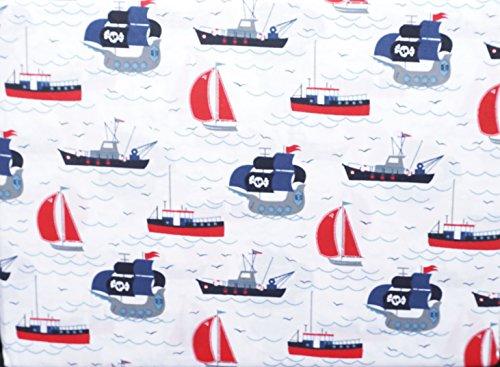Sheet Set 3 Piece Twin Toddler Boys Ships Nautical Pirates Sailboats Trawlers Fishing Boats Hillcrest - Pirates Sheet Toddler Set