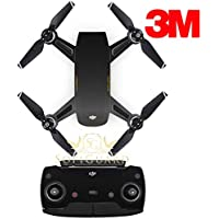SopiGuard 3M Brushed Black Precision Edge-to-Edge Coverage Vinyl Sticker Skin Controller 3 x Battery Wraps for DJI Spark