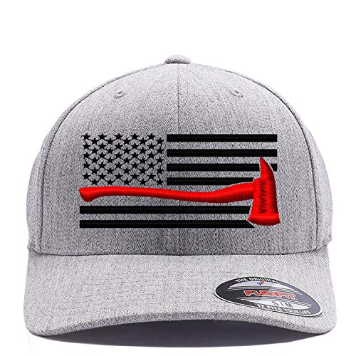 Thin Red Line Axe USA Flag. Embroidered. 6477 Flexfit Wool Blend Cap (S/M, Heather)