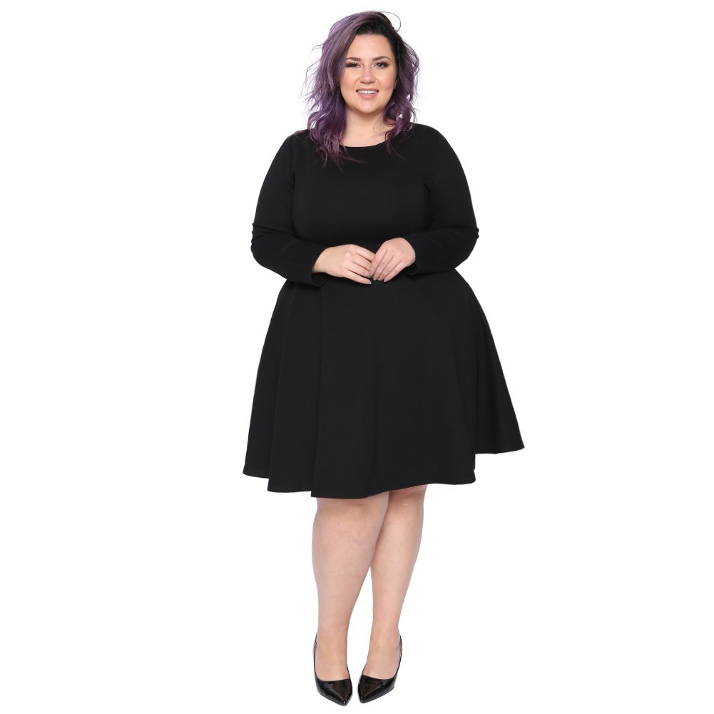 Astra Signature Women's Plus Size A Line Long Sleeve Scoop Neck Amanda Fit and Flare Dress (Black, 24W)