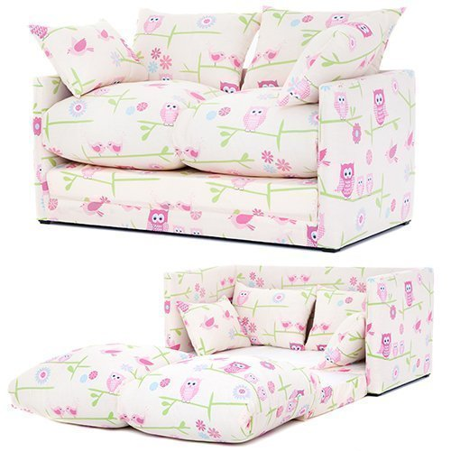 Ready Steady Bed Owls Twit Twoo Design Children S Fold Out Sofa Cotton Pink Two Seats Co Uk Kitchen Home