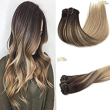 Amazon Com Googoo Clip In Hair Extensions Ombre Medium Brown To