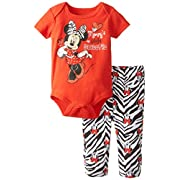 Disney Baby Girls Minnie Mouse Printed Bodysuit and Pant Set, Red, 0-3 Months
