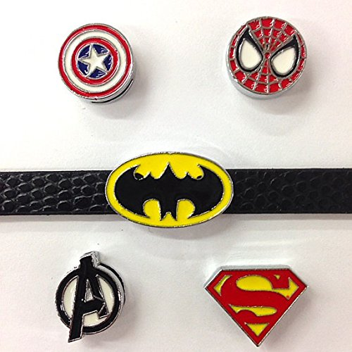 (Set of 20 pc super hero Spider man/ superman /spider slide charm fits 8mm wristband for jewelry (USA seller))