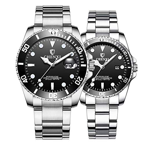 (Couple Watches Classic Silver Stainless Steel Watch His and Hers Waterproof Quartz Watch Gifts Set of 2 (Silver Black) )