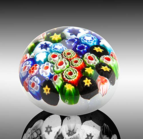 The Paragon Collectible Millefiori Handmade Glass Paperweight, Beautiful Office Decor, Decorative Art Glass, Colorful Flower Paper Weight