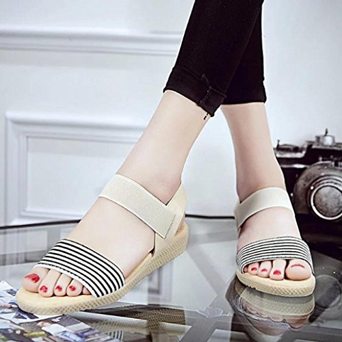 LANDFOX Mujeres Rayas Verano Bohemia Sandalias Sweet Clip Toe Sandalias Playa Zapatos Beige