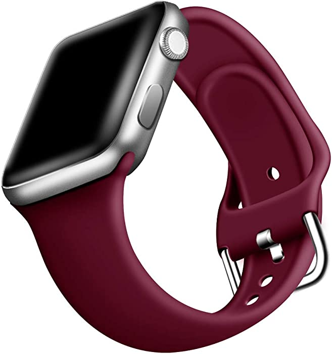 ONMROAD Sport Band Compatible with Apple Watch Series 5 44mm Band for Man, Soft Smooth Silicone Replacement Strap for Apple Watch Series 3 42mm Band for Women - Wine Red
