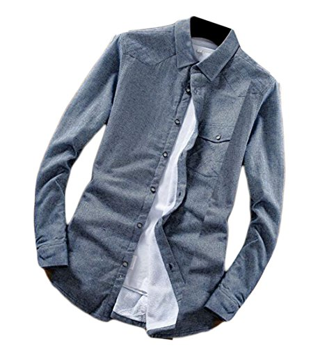Slim Mens Camicie In Foderato Fit Pile uk Blu Maniche Oggi Lunghe qEA454