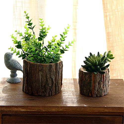 Yunhigh Wood Flower Pot with Bark Natural Willow Small Cactus Succulent Log Planter Box Decorative Hand-Crafted Rustic Flowerpot Container - Large