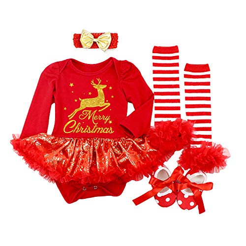 BabyPreg Baby Girls My First Christmas Santa Costume Party Dress 4PCS (L for 9-12 Months, Deer Red)